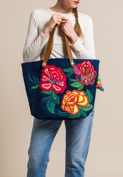 Pero Cotton Floral Embroidered and Beaded Tote Navy