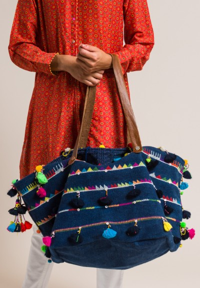 Pero Embroidered Cotton with Tassels and Bells Tote Navy