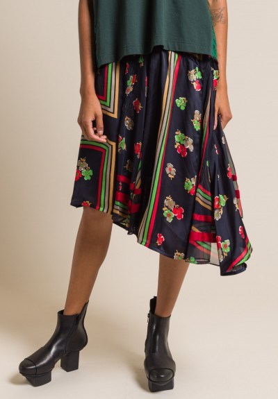 Sacai Floral Print Skirt in Navy