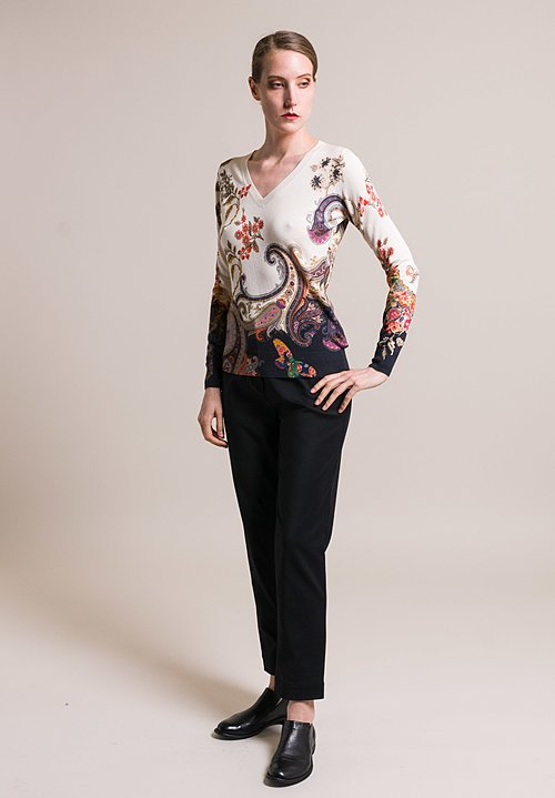 Etro Silk/Cashmere Paisley & Floral Sweater