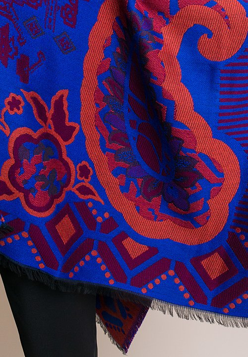 Etro Knit Floral Jacquard Poncho in Blue