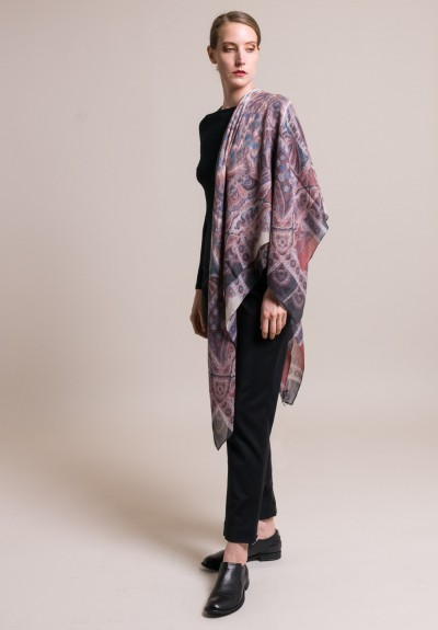 Etro Cashmere Bombay Scarf in Pale Red