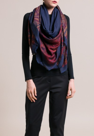 Etro Floral & Paisley Jacquard Scarf in Navy