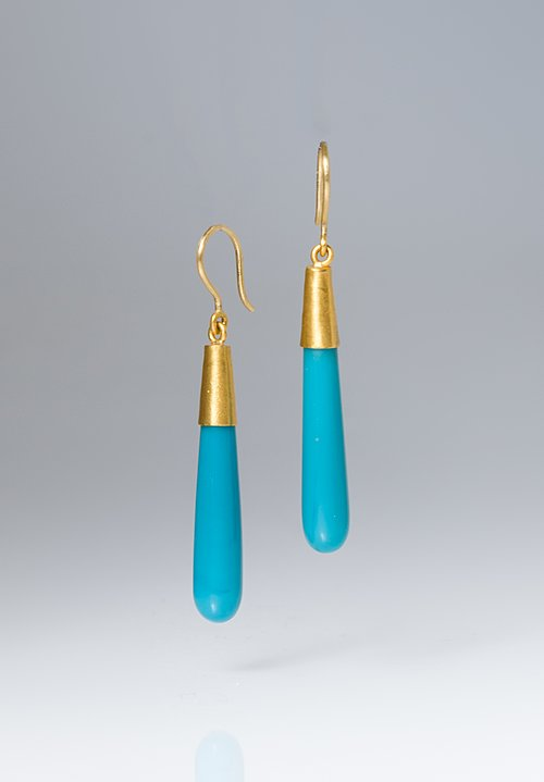 Yossi Harari 24k, Turquoise Roxanne Cone Earrings
