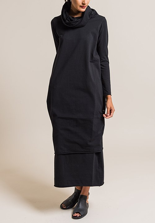 Labo.Art Abito Guantino Extra Large Cowl Neck Dress in Black