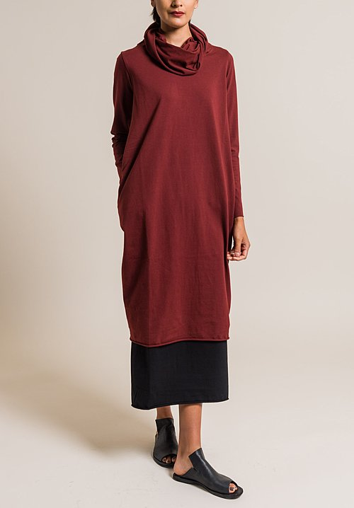Labo.Art Extra Large Cowl Neck Dress in Cordovan