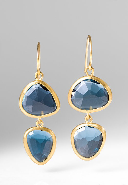 Greig Porter 22k, Double Drop London Blue Topaz Earrings