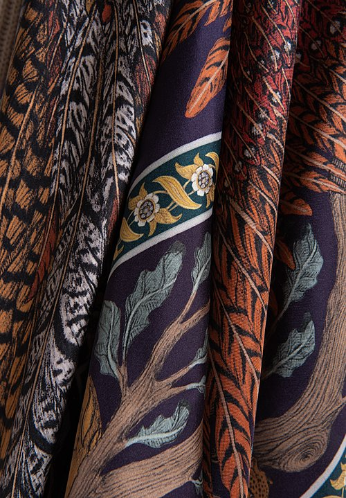 Sabina Savage Silk Twill Pheasant Tree Scarf in Damson/Gold
