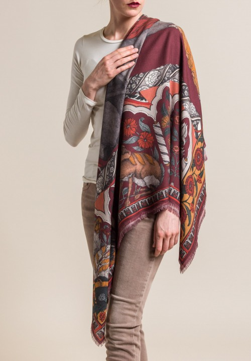 Sabina Savage Wool/Silk Tipu's Hounds Scarf in Mulberry/Tumeric