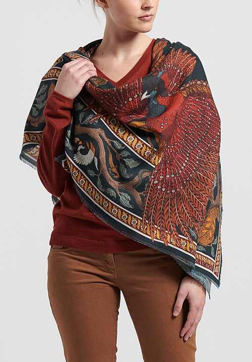 Sabina Savage Wool/Silk Pheasant Tree Scarf in Forest/Saffron