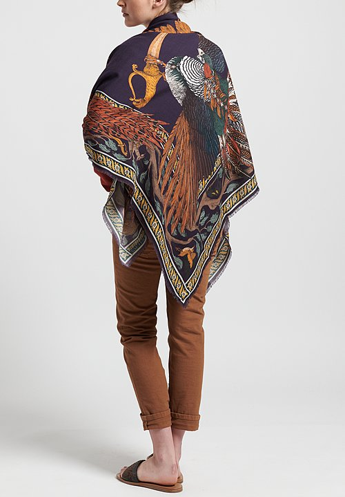 Sabina Savage Wool/Silk Pheasant Tree Scarf in Damson/Gold