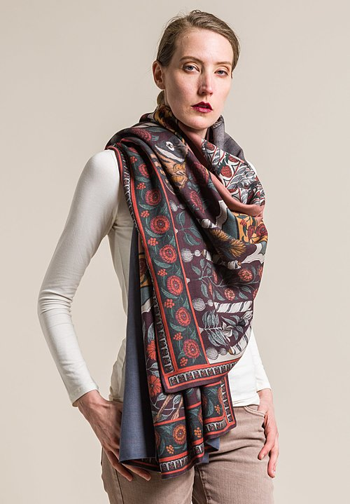 Sabina Savage Cashmere Backed Tipu's Hound Scarf in Mulberry/Tumeric