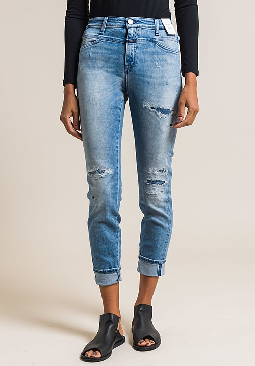 Closed Skinny Pusher Distressed High-Rise Jeans in Vintage