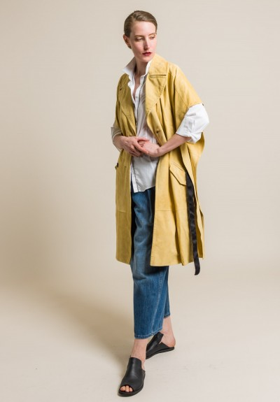 Brunello Cucinelli Double-Breasted Suede Belted Overcoat in Camomile