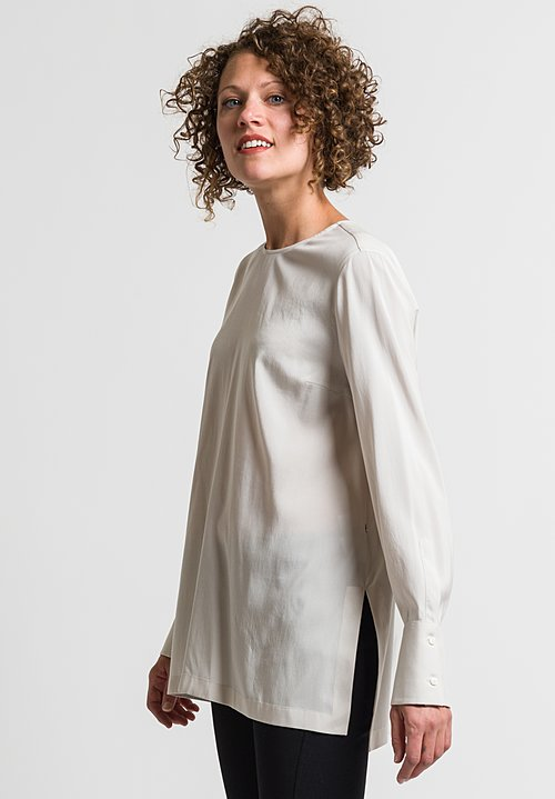 Brunello Cucinelli Long Blouse in Salt