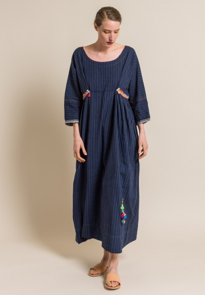 Pero Linen/Cotton Striped and Embellished Long Dress
