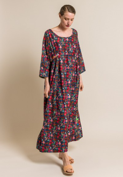 Pero Silk Floral Embellished Long Dress in Blue/Red