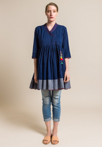 Pero Cotton V-Neck Peasant Tunic in Navy Blue