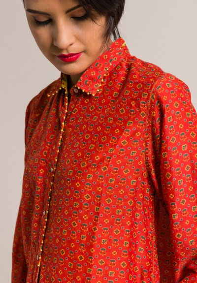 Pero Cotton/Silk Button-Down Embellished Tunic in Orange