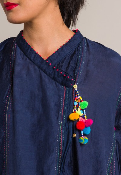 Pero Cotton/Silk Embroidered Peasant Dress in Blue