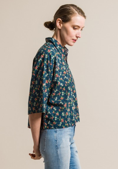 Pero Floral Cotton Short Oversize Shirt in Green