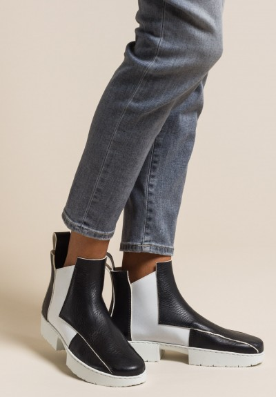 Trippen Crust Ankle Boot in Black/White
