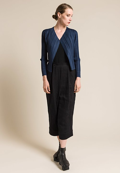 Issey Miyake Pleats Please Open Pleated Jacket in Slate Blue