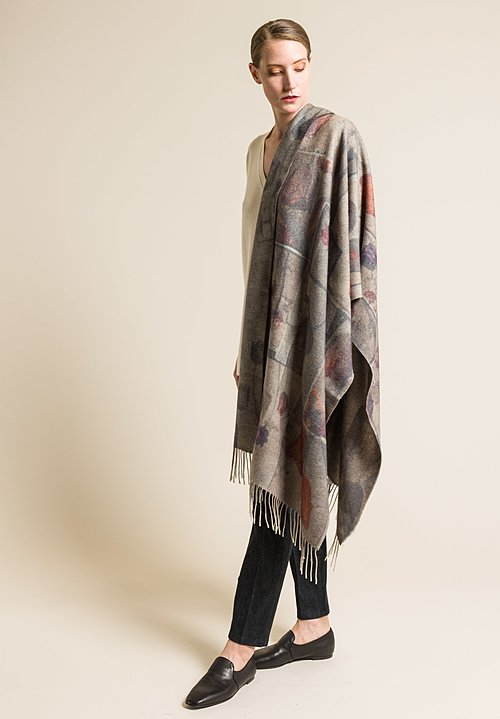 Al011pi Floral Printed Cashmere Cornice Scarf in Natural