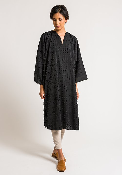 Shi Cashmere Black Georgette Mix Windows Long Dress