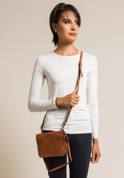 Campomaggi Leather Fold Over Small Cross Body Bag in Cognac