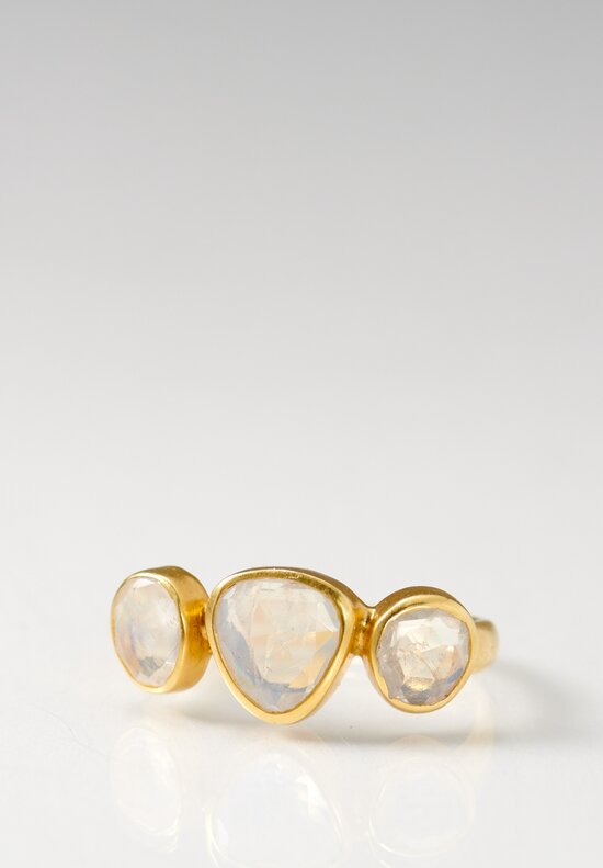 Pippa Small 18K, Rainbow Moonstone 3 Stone Greek Ring