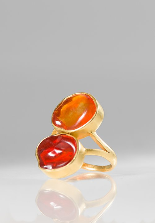 Pippa Small 18K, Fire Opal Double Greek Ring