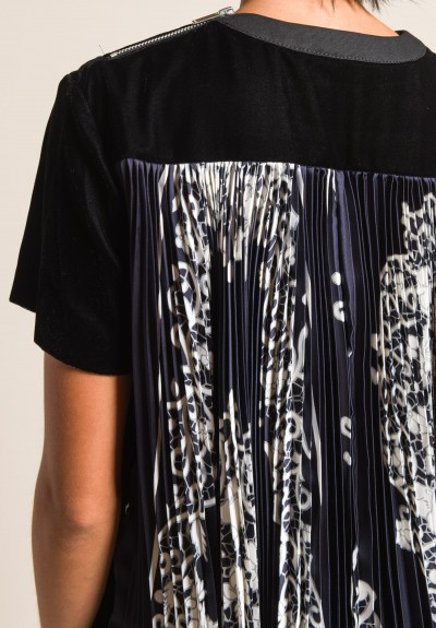 Sacai Flower Scarf Print Top in Black & Navy