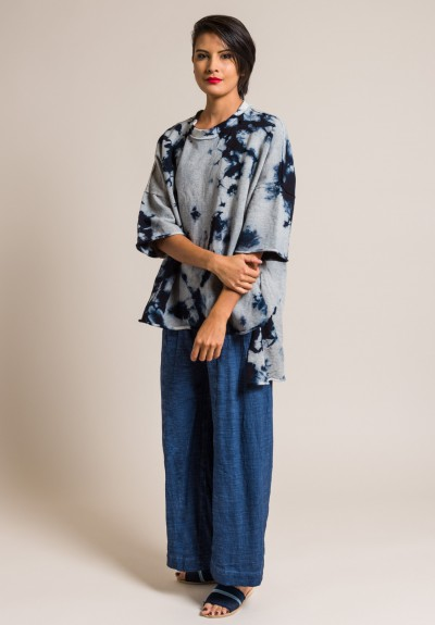 Gilda Midani Cotton Fleece Pattern Dyed Super Tee in Blue Stain