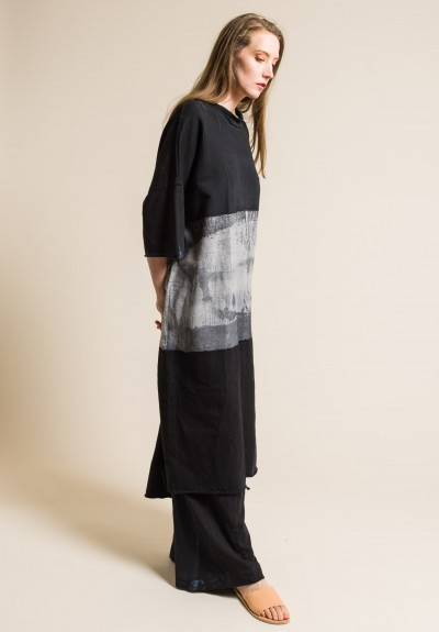 Gilda Midani Cotton Fleece Super Dress in Stripe Black & Grey