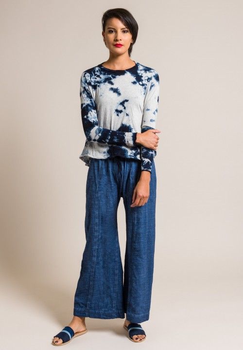 Gilda Midani Long Sleeve Straight Trapeze Tee in Blue Stain