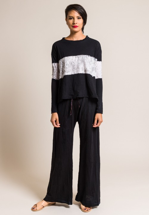 Gilda Midani Multi Pattern Long Sleeve Straight Trapeze Tee in Black & Wall Stripe