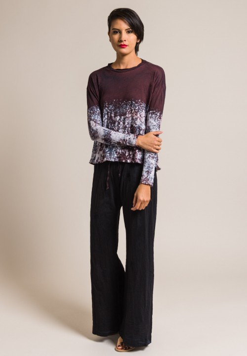 Gilda Midani Multi Pattern Long Sleeve Straight Trapeze Tee in Bordeaux Marble