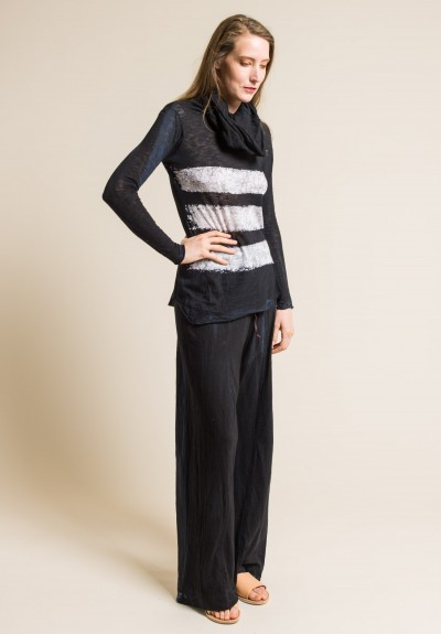 Gilda Midani Girafa Long Sleeve Dyed Tee in Black & Wall Stripe