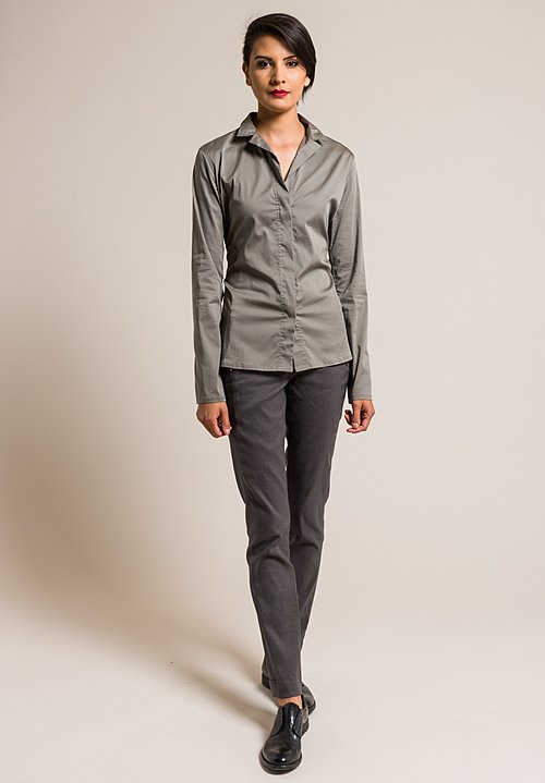 Lareida Stretch Cotton Stand Collar Catharina Shirt in Pewter