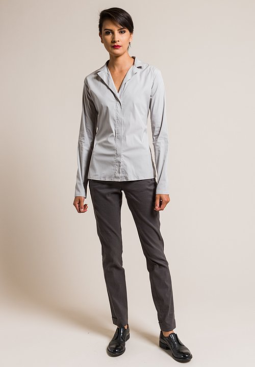 Lareida Stretch Cotton Stand Collar Catharina Shirt in Polar Grey