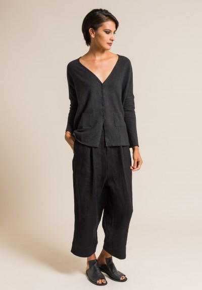 Album Di Famiglia Oversized Snap-Down Cardigan in Almost Black