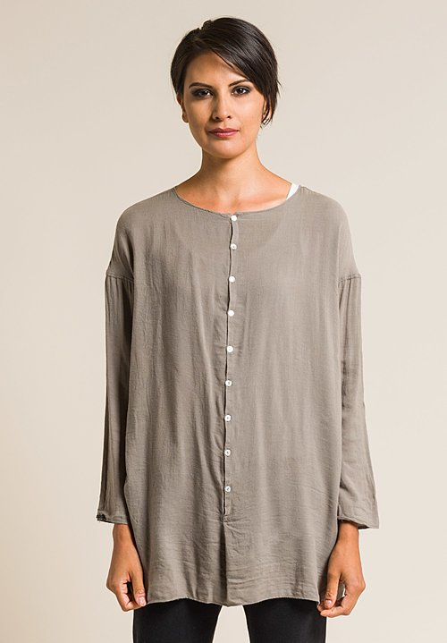 Album Di Famiglia Soft Oversized Tela Shirt in Anthracite