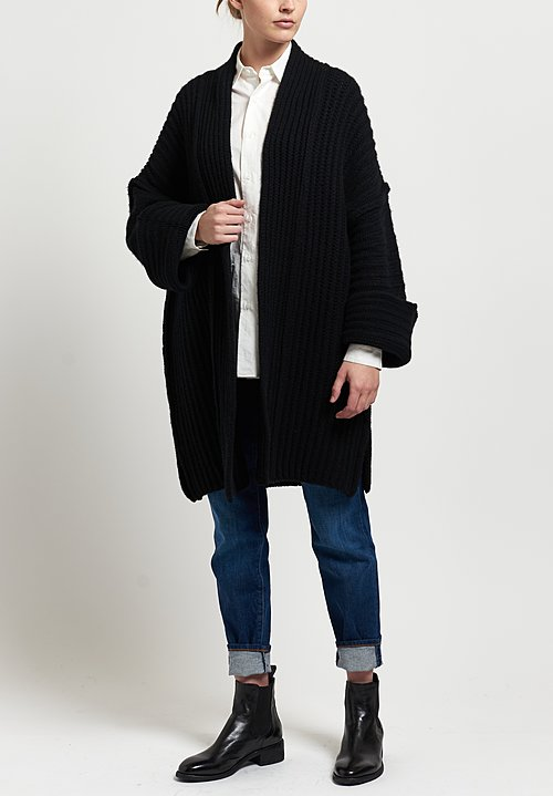 Shi Cashmere Knit Pared Down Jacket in Black