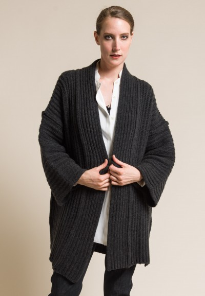 Shi Cashmere Knit Pared Down Jacket in Charcoal