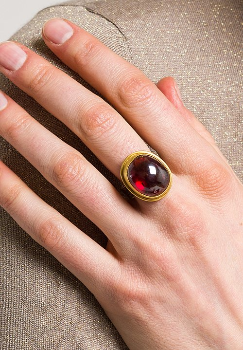 Greig Porter Large Garnet, 22K, Sterling Ring