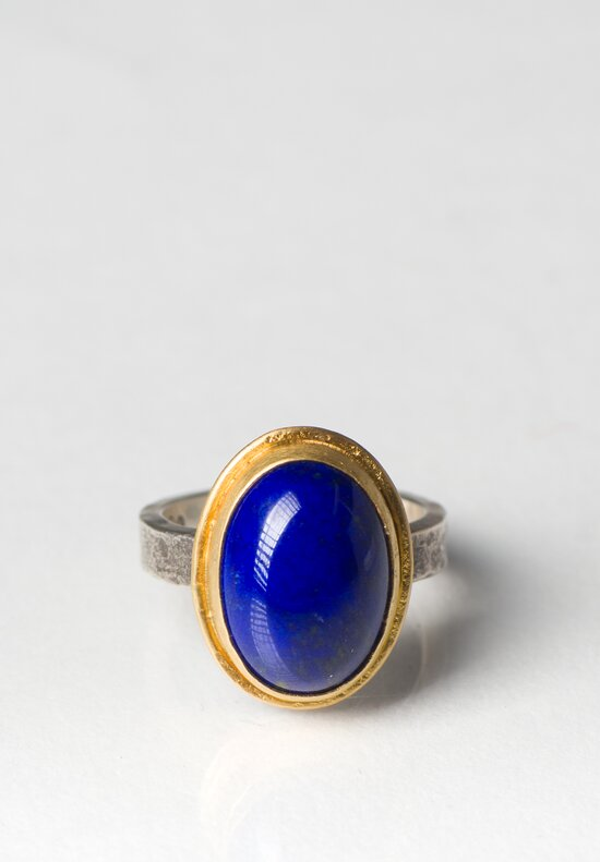 Greig Porter 22k, Lapis Oval Ring with Sterling Silver Band