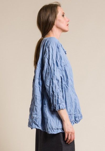 Daniela Gregis Washed Cotton Oversized Painter Top in Light Blue