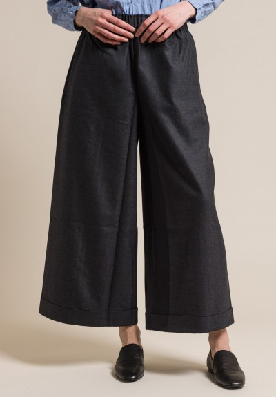 Daniela Gregis Wool Wide Leg Pants in Anthracite