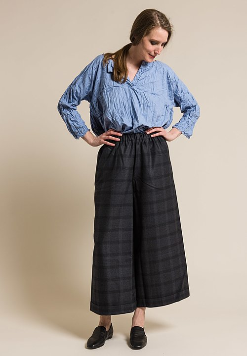 Daniela Gregis Wool Wide Leg Pants in Grey Tartan